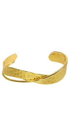 Double Line Hammered Gold Bangle