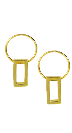 Gold Front Hoop and Rectangle Charm Earrings