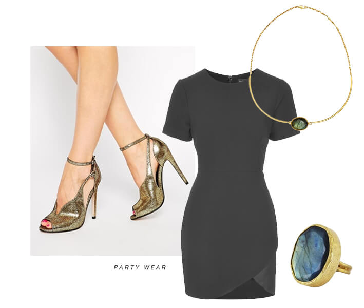 gold party wear