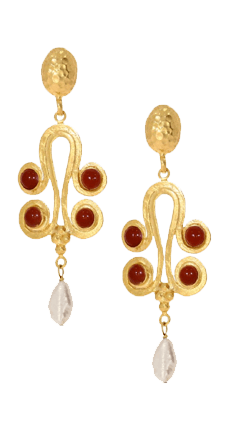 Pearl and Orange Agate Greek Statement Drop Earrings