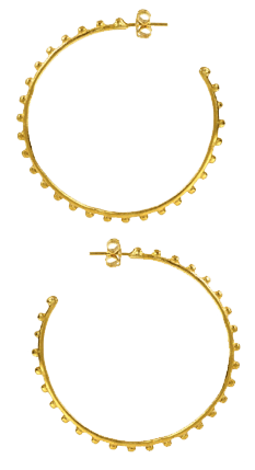 Spinning Cog Gold Hoop Earrings