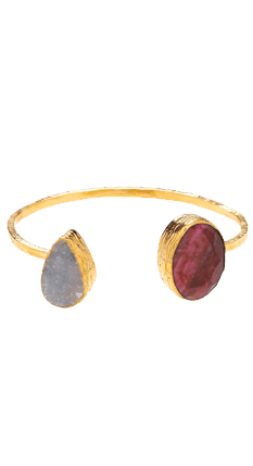 Ruby and Rough Chalcedony Open Bangle