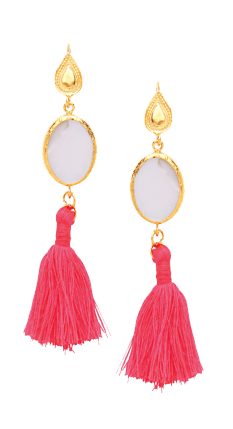 Mother of Pearl Stone and Coral Tassel Drop Earrings