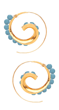 Turquoise Spiral Bead Hoop Earrings