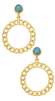 Turquoise Stone and Gold Chain Hoop Earrings