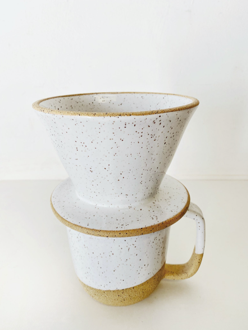 Coffee Pour-Over in Speckled White