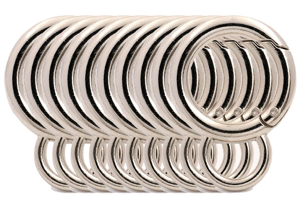BIKICOCO 4/5'' Spring Gate Ring with Loop O-Ring Clasp Push Gate Snap Hook Metal Webbing Hook Bag Clasp Spring Buckle, Silver - 20 Pcs - BIKICOCO