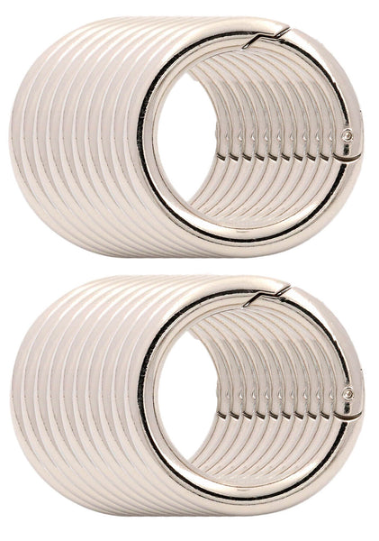 BIKICOCO 4/5'' Round Spring Gate O-Ring Clasp Push Snap Hook Screw Belt Hardware Loop, for Handbags, Keys, Silver - 20 Pcs - BIKICOCO