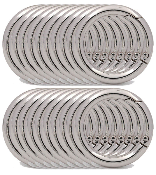 BIKICOCO 1'' Round Spring Gate O-Ring Clasp Push Snap Hook Screw Belt Hardware Loop, for Handbags, Keys - 20 Pcs - BIKICOCO