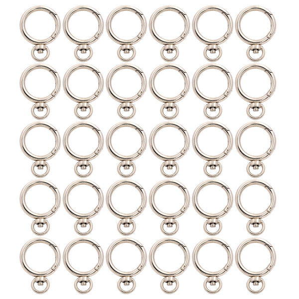 BIKICOCO 4/5'' Spring Gate Ring with Swivel O-Ring Clasp Push Gate Snap Hook Metal Webbing Hook Bag Clasp Spring Buckle, Silver - 30 Pcs - BIKICOCO
