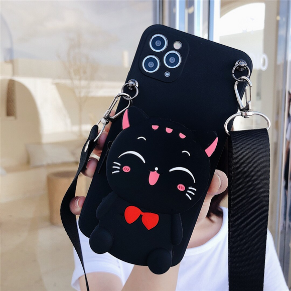 Carcasa Cat Black 3D, con correa y monedero para iPhone 12 y iPhone 12 Pro