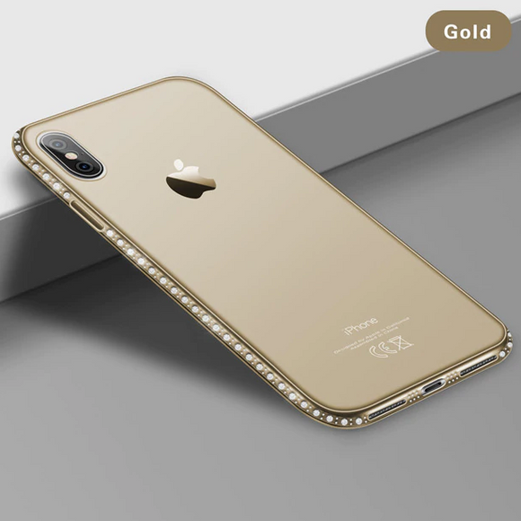 Carcasa de lujo gold con toques de brillo para iPhone XR