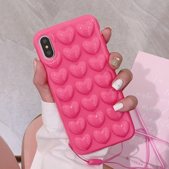 Carcasa Bubble Heart Pink para iPhone X / XS
