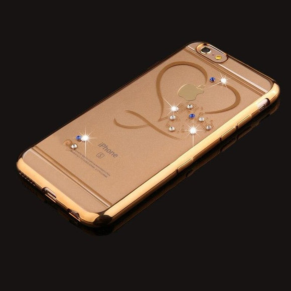 Carcasa Gold Diamond Heart para iPhone 7 Plus y 8 Plus