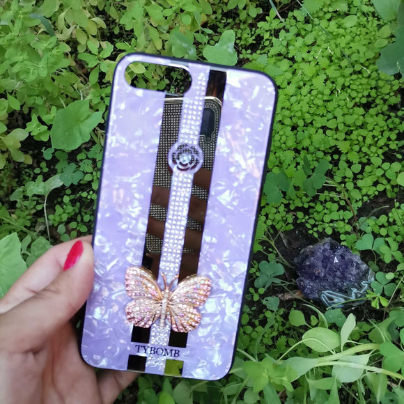Carcasa fancy butterfly Purple para iPhone 7 Plus y 8 Plus
