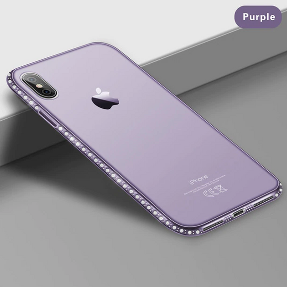 Carcasa de lujo purple con toques de brillo para iPhone X / XS