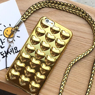Carcasa Bubble Heart Gold para iPhone 7 Plus y 8 Plus