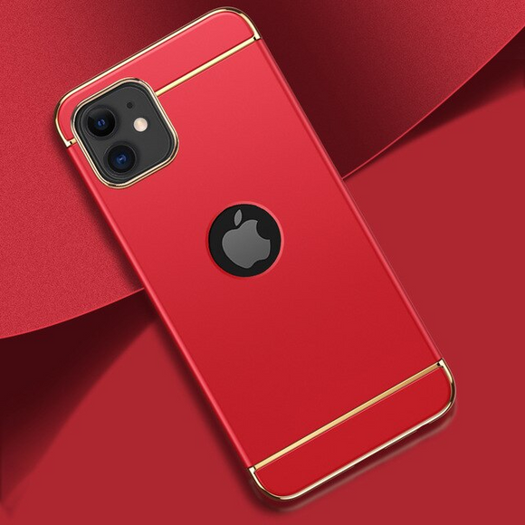 Carcasa de lujo red con bordes gold para iPhone 11 Pro Max