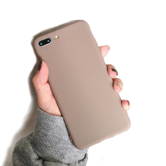 Carcasa suave de color matte simple para iPhone 7 y 8