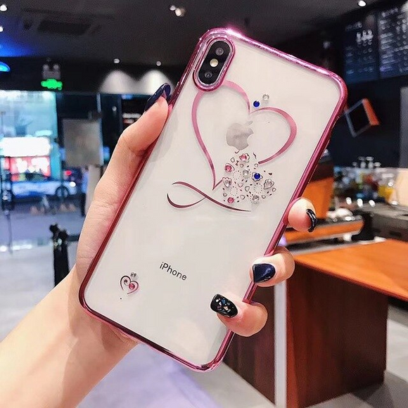 Carcasa Pink Diamond Heart para iPhone X / XS