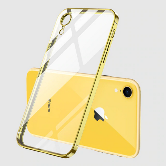 Carcasa transparente con bordes gold para iPhone 12 y iPhone 12 Pro