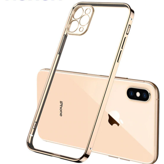 Carcasa transparente con bordes gold para iPhone 12 Pro Max