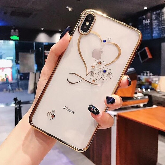 Carcasa Gold Diamond Heart para iPhone  X / XS
