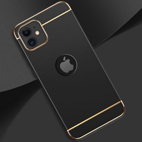 Carcasa de lujo black con bordes gold para iPhone 11