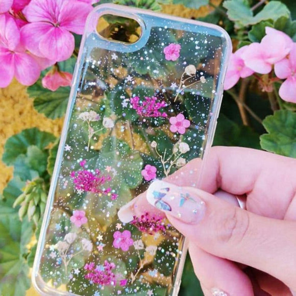 Carcasa Dried Flowers Pink para iPhone SE