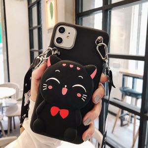 Carcasa Cat Black 3D, con correa y monedero para iPhone 11