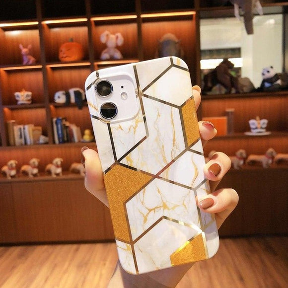 Carcasa Geometric de lujo gold para iPhone 11