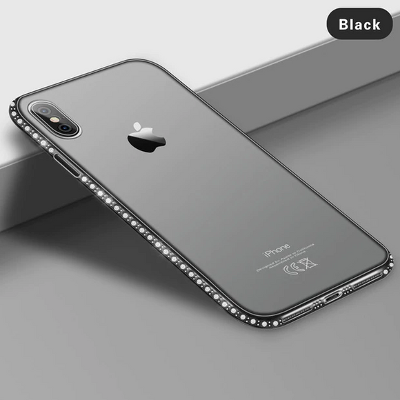 Carcasa de lujo black con toques de brillo para iPhone XR