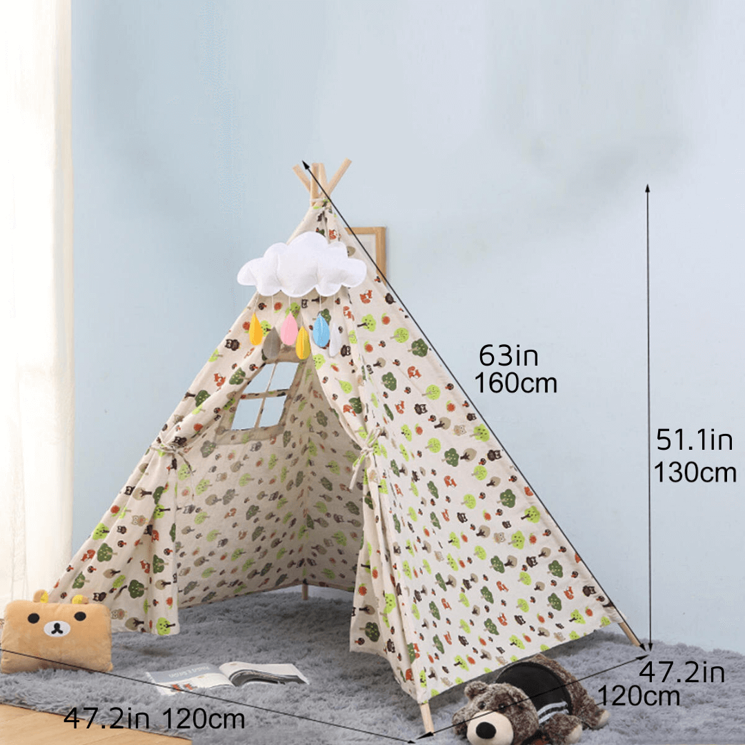 play teepee flower cotton boy girl tent toy play tea party home wigwam