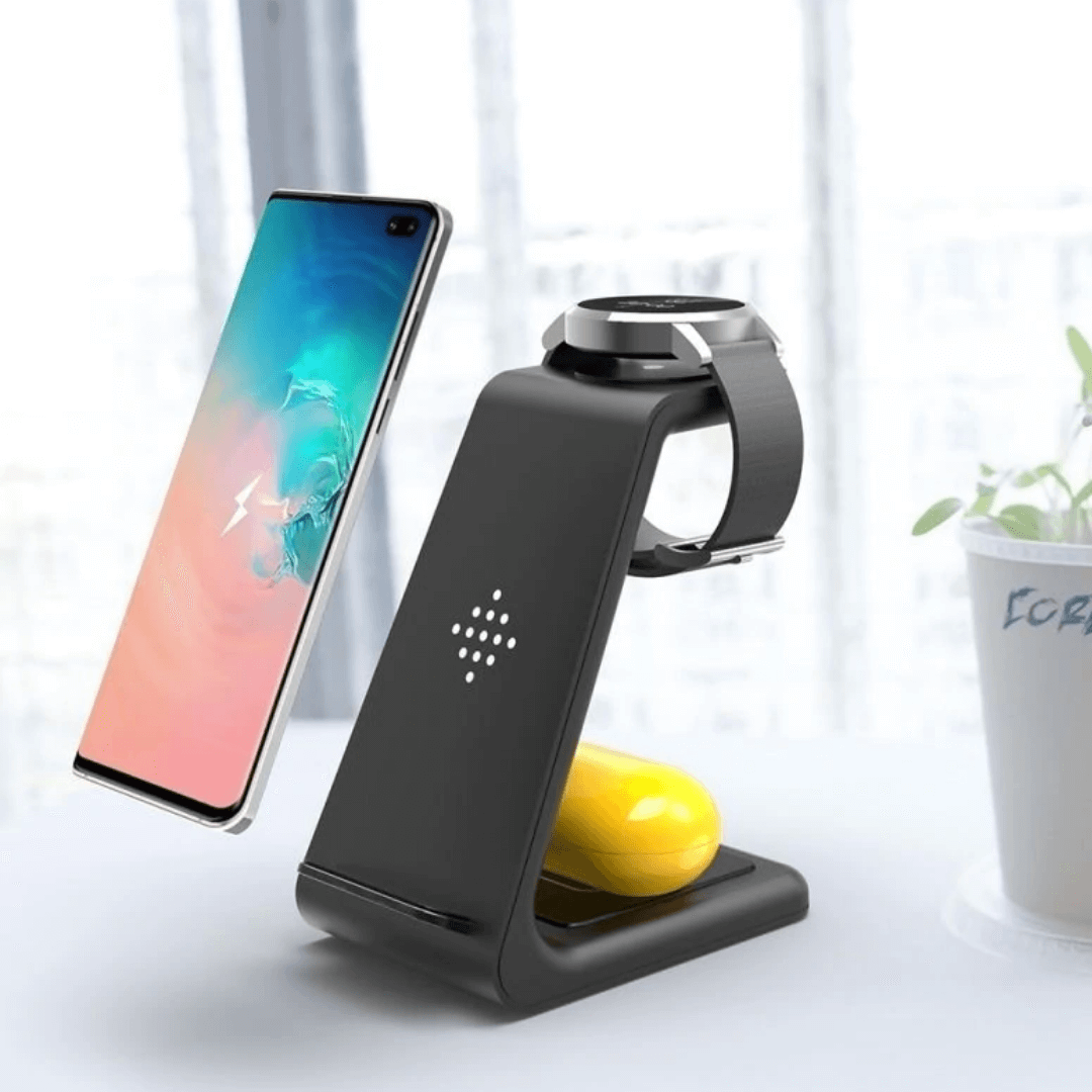 3-in-1 Wireless Fast Charging Station for Your Phone Watch Earbuds (Apple or Samsung)
