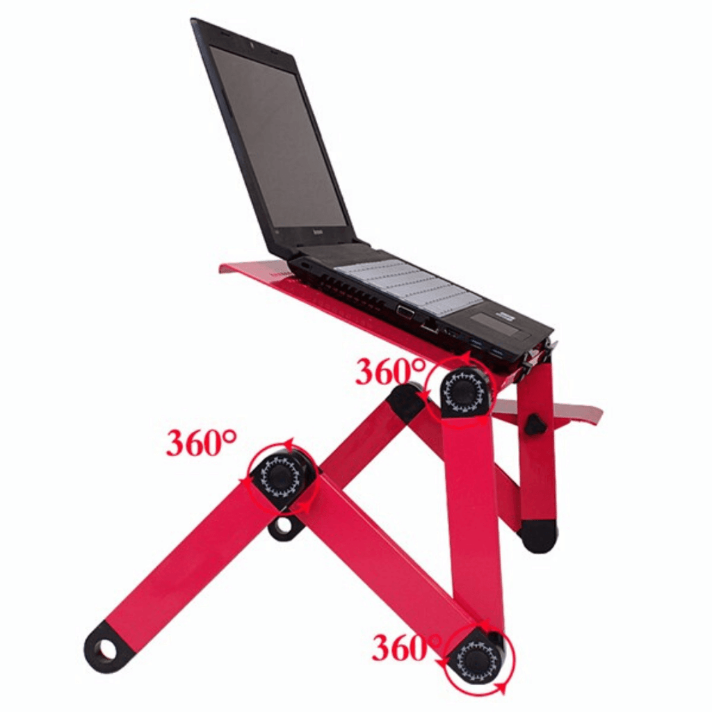 ComfyDesk™ Height Adjustable Ergonomic Laptop Stand for Home Office with Mouse Tray and Cooling Fan