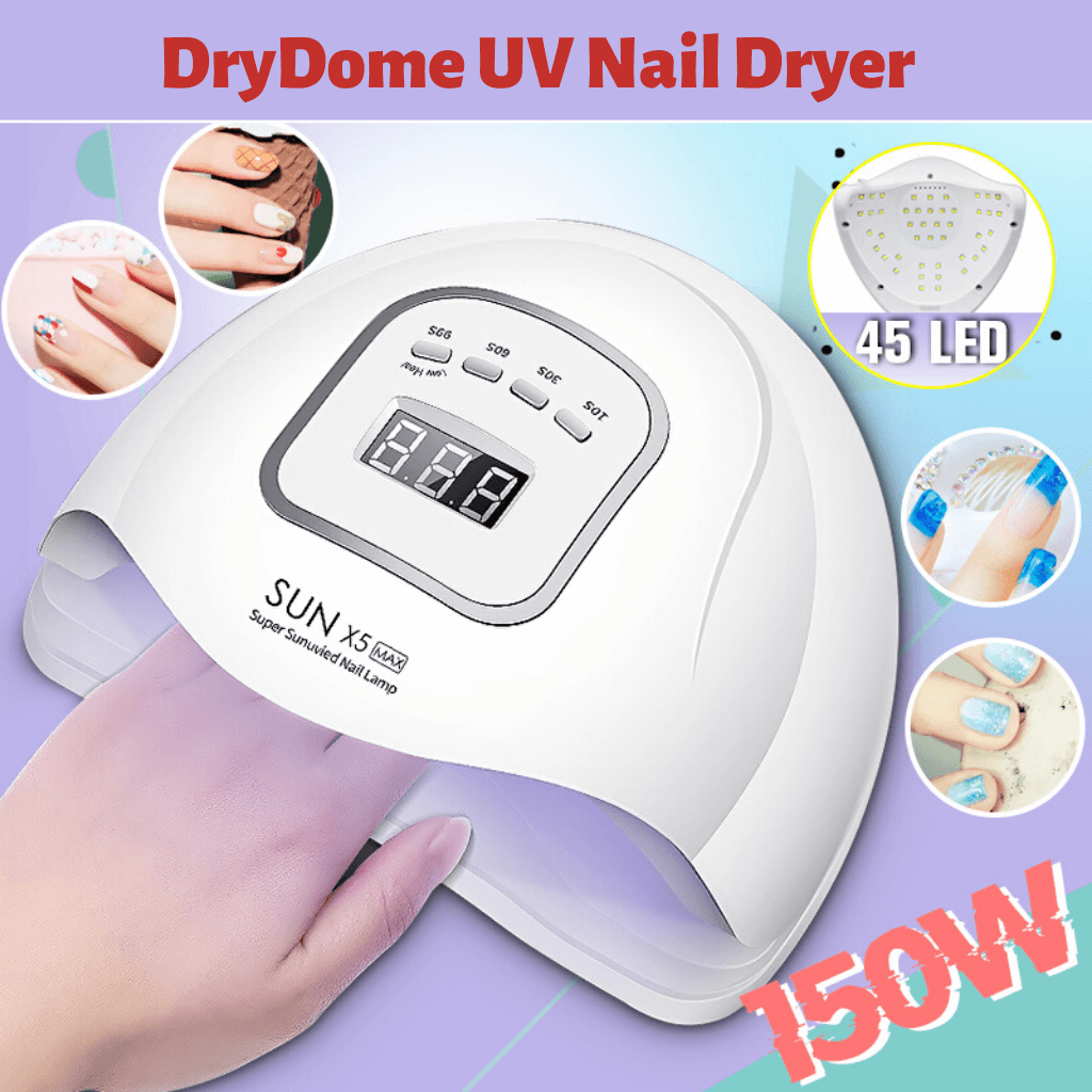 DryDome™ 150W UV LED Hand Foot Nail Dryer Ultra Violet 45 LED Cure Nail Gel Polish