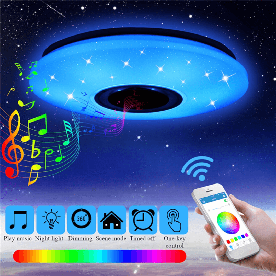 LuxVox™ LED Smart Home 3-In-1 Ceiling Light Music Bluetooth Speaker 48W RGBW Dimmable Lamp