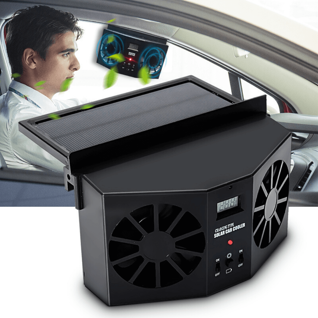 SunVent Solar Powered Car Ventilator with Car Exhaust Fan and Double Air Outlet to Remove Odors and Get Fresh Air Inside Vehicle