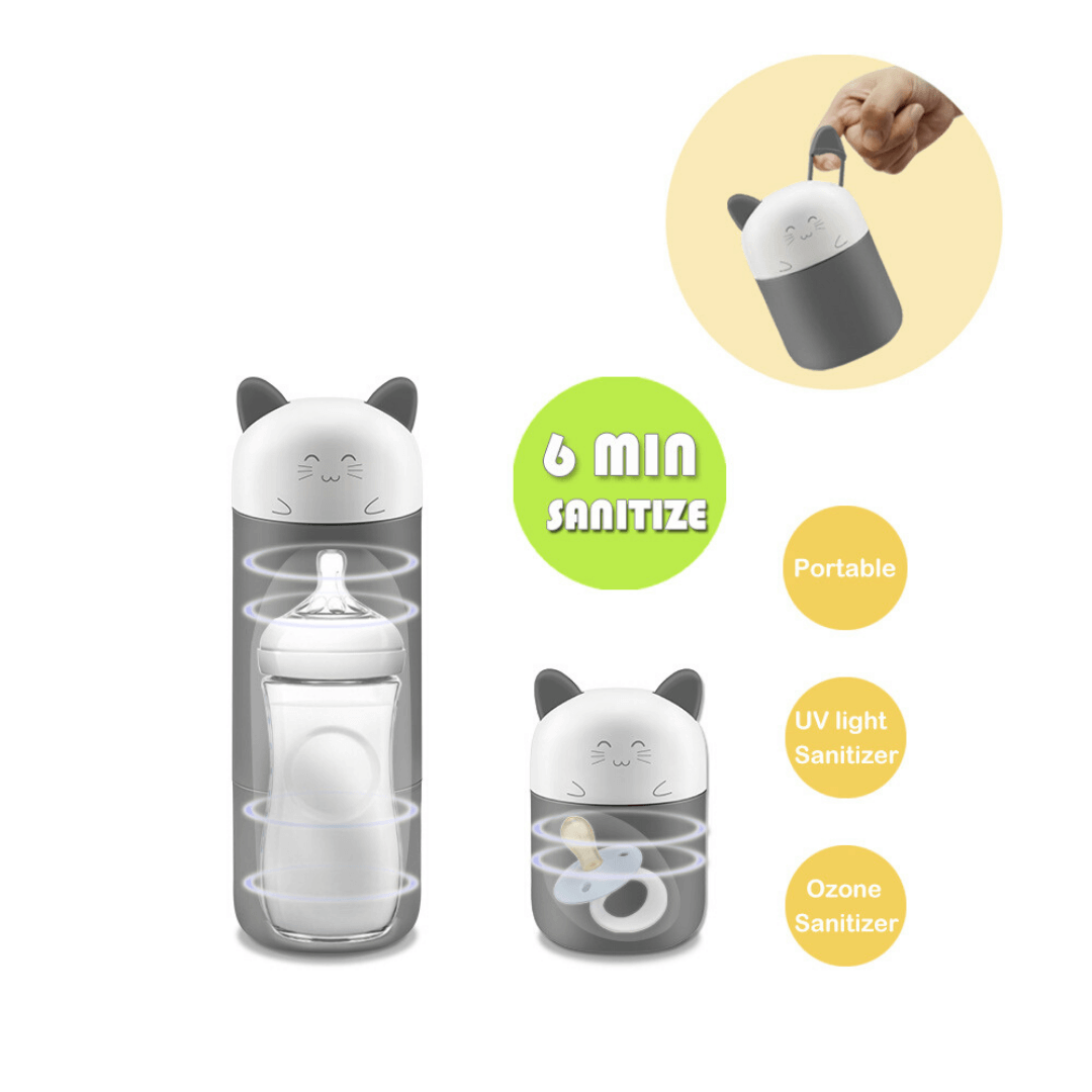 UVkitty™ UV Ozone Disinfection Bottle Baby Pacifier Sterilizer Portable Travel Sanitize Toys with Portable Ears in Cute Cartoon Cat Design