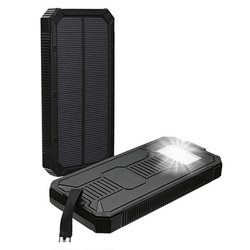 Survival Solar Power Bank 8000 mAh Dual USB Quick Charge Ports with LED Flashlight