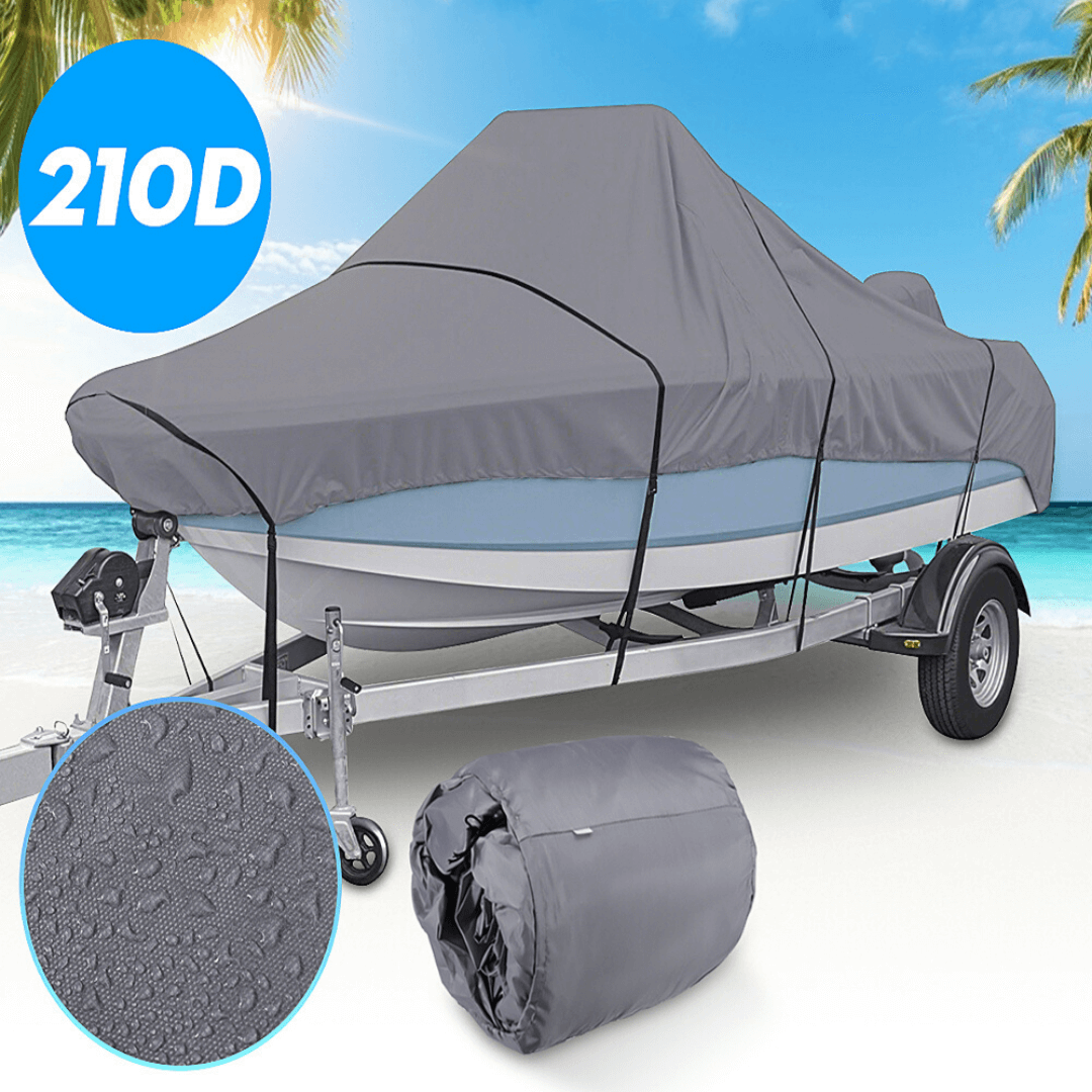 Ultimate Runabout Boat Cover - 210D UV Protected, Waterproof, Dustproof, Trailerable, V-Hull Boat Covers in 4 Sizes