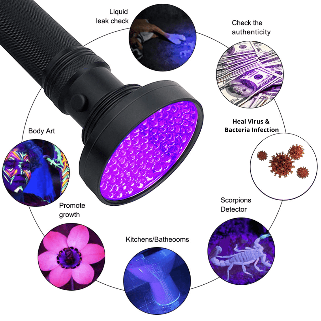 UV LED Torch Light 395nm Sterilizing Ultra Violet Blacklight Waterproof Portable Inspection Lamp