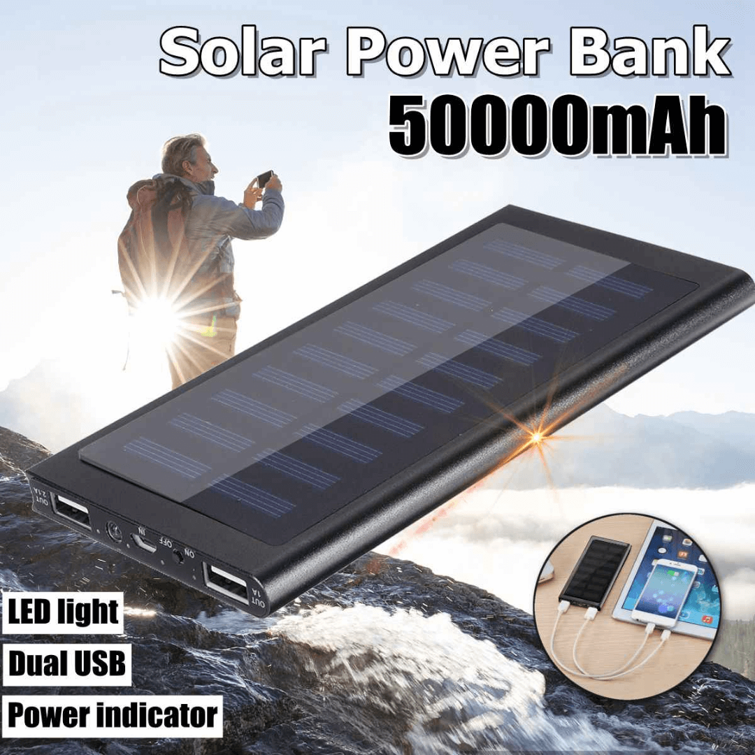 Portable Solar Power Bank 50.000mAh Ultra High Capacity Dual USB Ports Charger with LED Flashlight