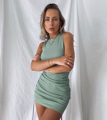 Rumi Drawstring Dress - Sage