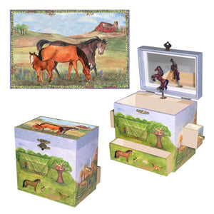 Horse Music Boxes | Enchantmints Musical Treasure Boxes featuring Horses, Unicorns, Pegasus, and other fantastical fairytale and dreamlike settings.