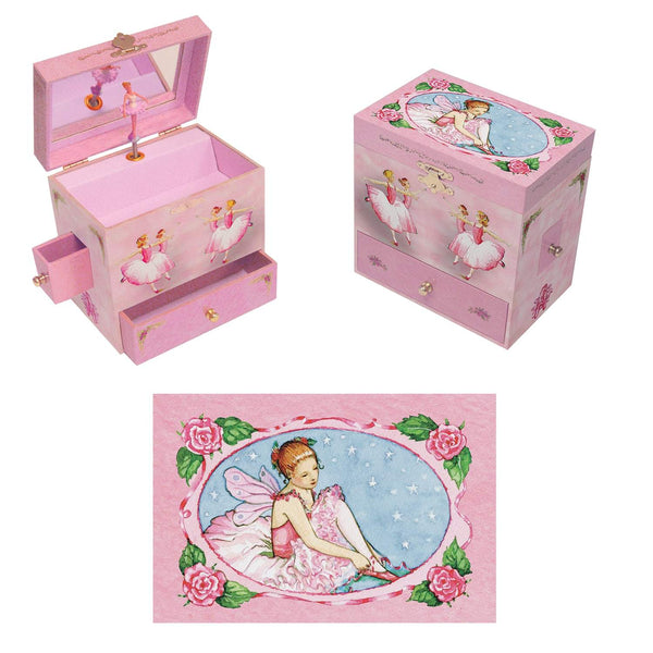 Ballerina Music box three-in-one view | A ballerina is on top in pink with roses all around her.  the capable corps de ballet are on the side.  Watercolor illustrations and 4 secret treasure drawers | Pretty musical gifts for kids from Enchantmints