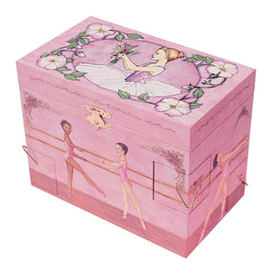 Ballet School Music box closed view | A ballerina is on top in pink with a posey and morning glories around her.  Scenes from the ballet studio are on the side.  Watercolor illustrations and 4 secret corner treasure drawers | Pretty musical gifts for kids from Enchantmints