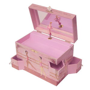 Ballet School Music box open view | A ballerina is on top in pink with a posey and morning glories around her.  Scenes from the ballet studio are on the side.  Watercolor illustrations and 4 secret corner treasure drawers | Pretty musical gifts for kids from Enchantmints