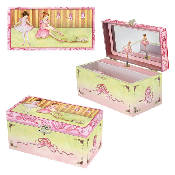 Ballet Shoes Music box three-in-one view | Two ballerinas getting ready for a recital.  Ballet shoes are on the side.  Watercolor illustrations and hidden treasure compartment inside | Pretty musical gifts for kids from Enchantmints