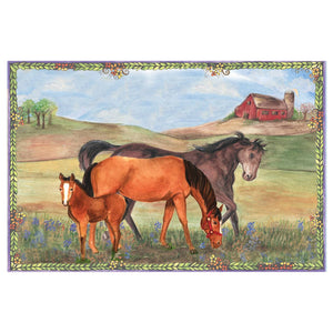 Horse Ranch music box top view | Musical treasure boxes and decor for kids from Enchantmints | unusual gifts for horse lovers